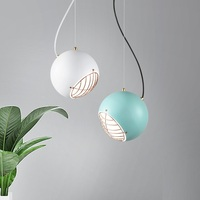 Modern LED Pendent Lights Creative Iron Spherical Lampara Lighting Fixtures White Bedroom Living Room Hanging Lamp Luminaire