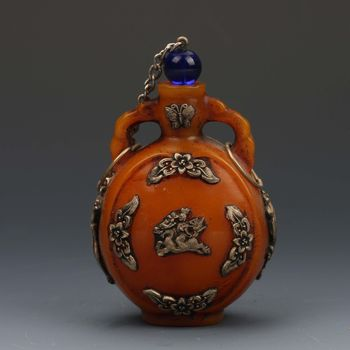 Collection Chinese Beeswax Handwork Inlaid With Silver Carving Flower& Dragon Bottle Snuff Bottle