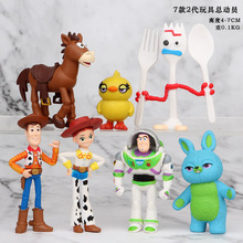 7pcs/set Toy Story 4 Woody Buzz Lightyear Jessie Bunny Ducky Horse  Lotso Action Model Figure Toys Gifts 4-7cm
