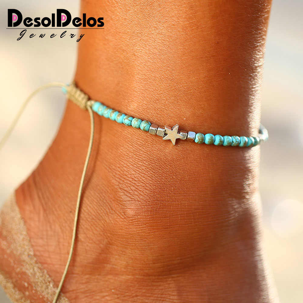 Bohemian Beads Stone Star Anklets For Women Weave Rope Ankle Charm Bracelets On Leg Beach Jewelry 2019 New Drop Shipping