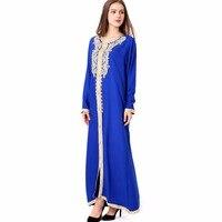 Women Maxi Long Sleeve Long Dress Embroidery Moroccan Kaftan Caftan Jilbab Islamic Abaya Muslim Turkish Arabic