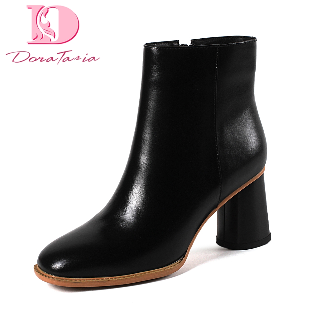 Doratasia Brand design top quality genuine leather Black Gray Ankle Boots Woman Shoes High Heel Shoes Woman Boots shoes boots цена