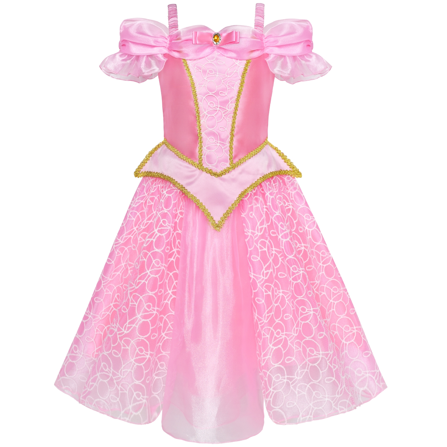 цены Girls Dress Princess Aurora Costume Briar Rose Dress Up Pink 2019 Summer Wedding Party Dresses Girl Clothes Pageant Sundress