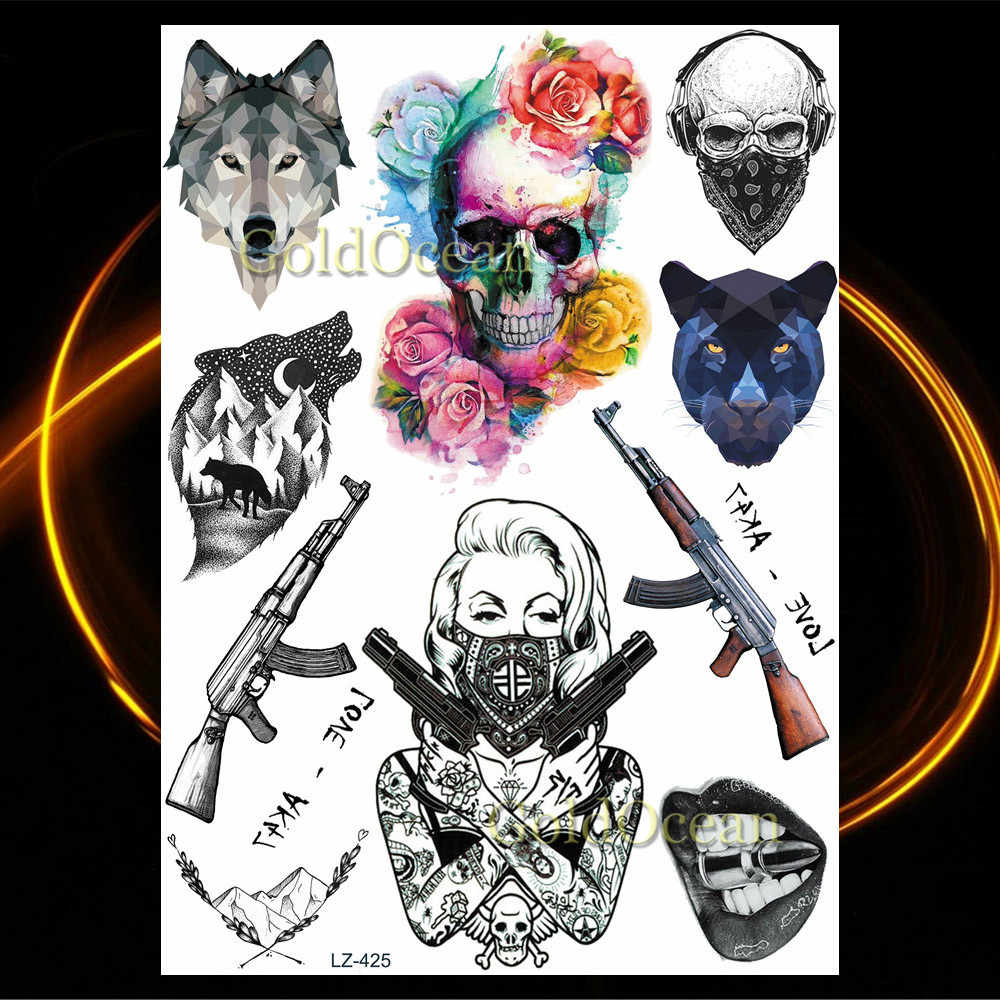 Акварельный компас, временная татуировка, наклейки Летающие птицы, водонепроницаемая татуировка для женский боди-арт, цветные руки, флэш-тату, шея ног