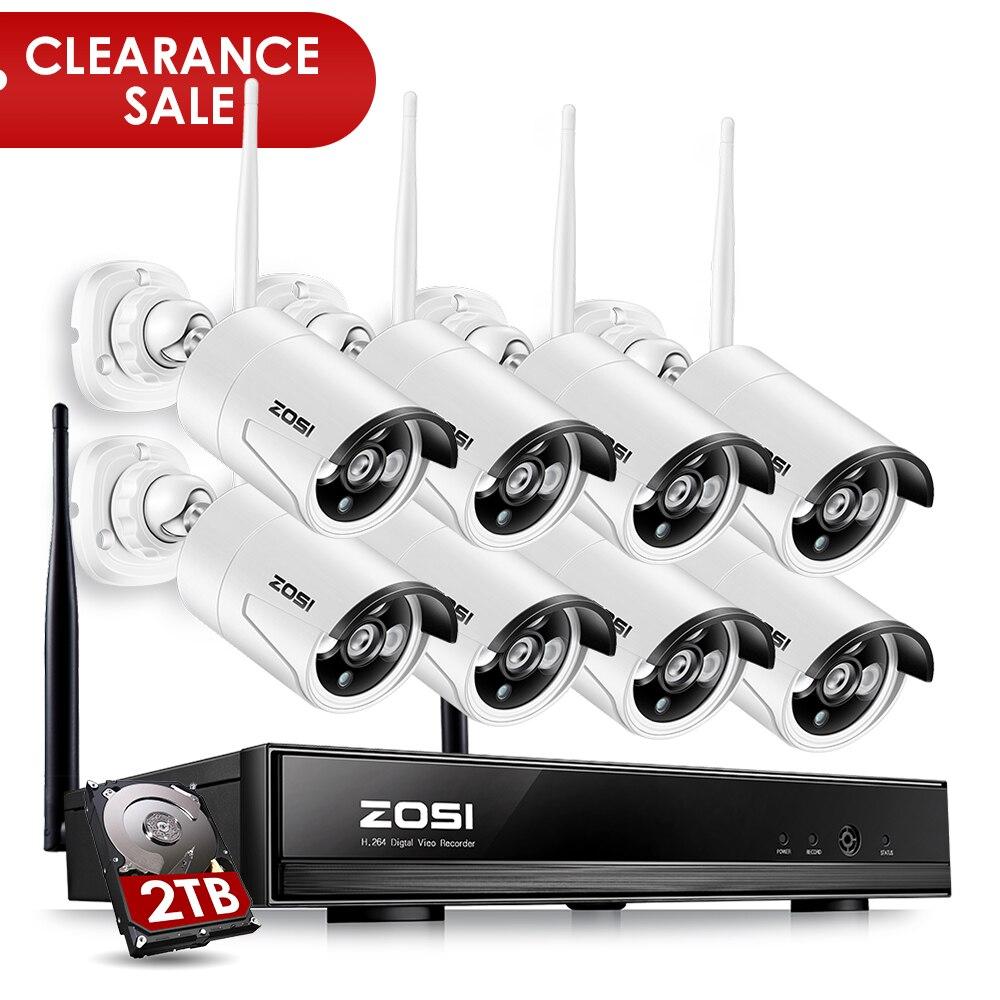 ZOSI 8CH CCTV Système Sans Fil 1080 p NVR 8 pcs 1.3MP IR En Plein Air P2P Wifi IP CCTV Caméra de Sécurité Système vidéo Surveillance Kit