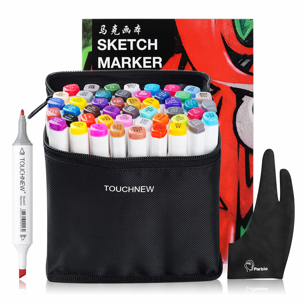 TOUCHNEW 36/48 Color Dual Head Art Marker Set Alcohol Sketch Markers Pen + A4 SketchBook + Two-finger Glove Black touchnew 60 colors artist dual head sketch markers for manga marker school drawing marker pen design supplies 5type