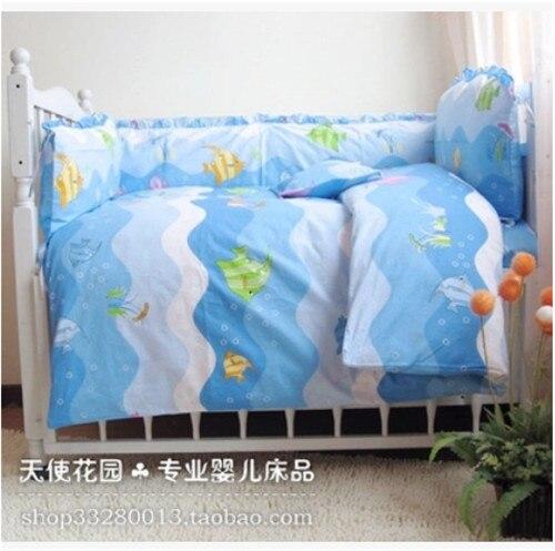 New cotton baby bedding set lovely ocean world cartoon for World crib bedding
