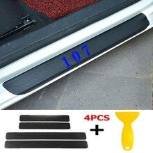 4pcs/set Car Door Window Protector Sticker Carbon Fiber Vinyl for Eat Sleep Yoga