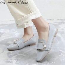 EshtonShero Elegant Womens Flats Shoes Woman Leather+PU Flat Heels Round Toe String Bead Black Ladies Wedding Size 3-11