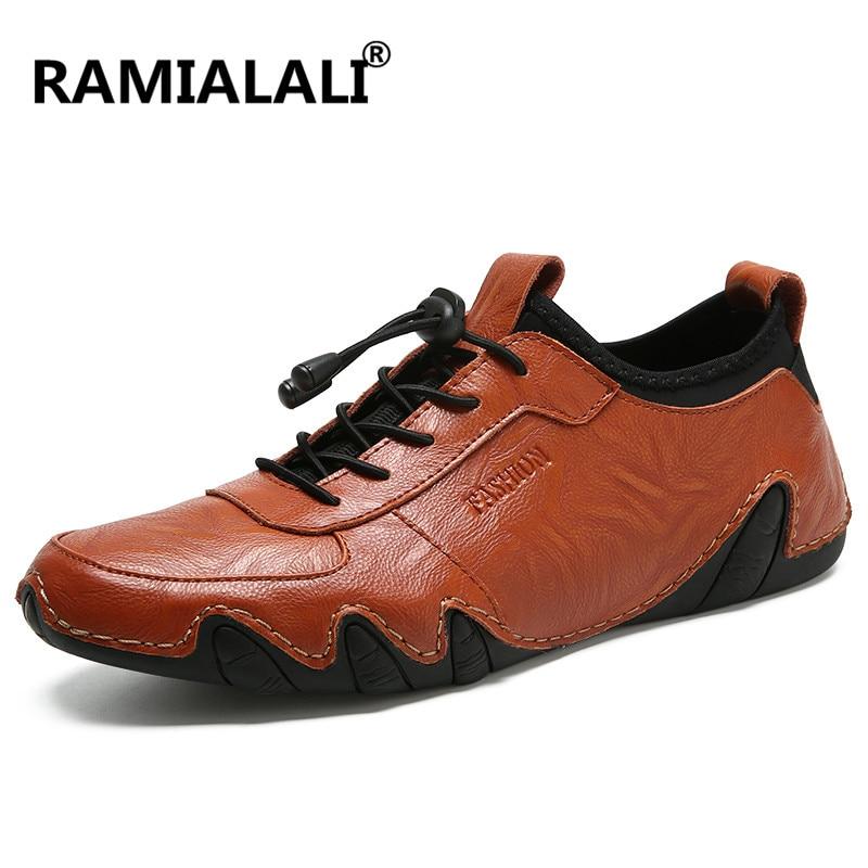 Homme amarelo Ramialali Casuais Luxo red Sapatos Até Preto Marca Brown Homens Couro De Rendas Mocassins Chaussure Do Real Vintage UUwFqp6