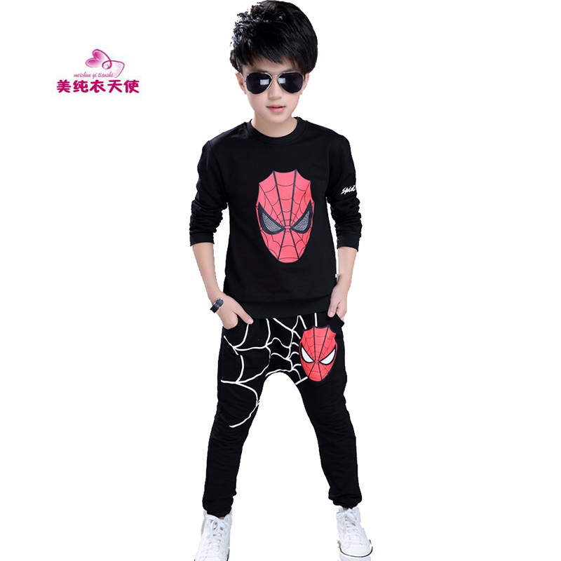 Spiderman Boys Clothing Sets 2017 Spring Autumn Boys Spider man Sports Suit Childrens Tracksuit 2 Pcs/Set 4 6 8 10 12 13 Years
