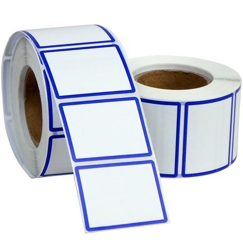em branco rotulos 44mm x 34mm com vermelho azul borda papel de etiqueta adesivo termico