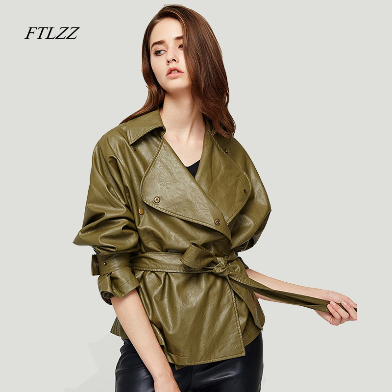 Ftlzz New Spring Women's Loose Washed Pu   Leather   Jacket Fashion Sashes Design Bright Colors Coats New Ladies Basic Jackets