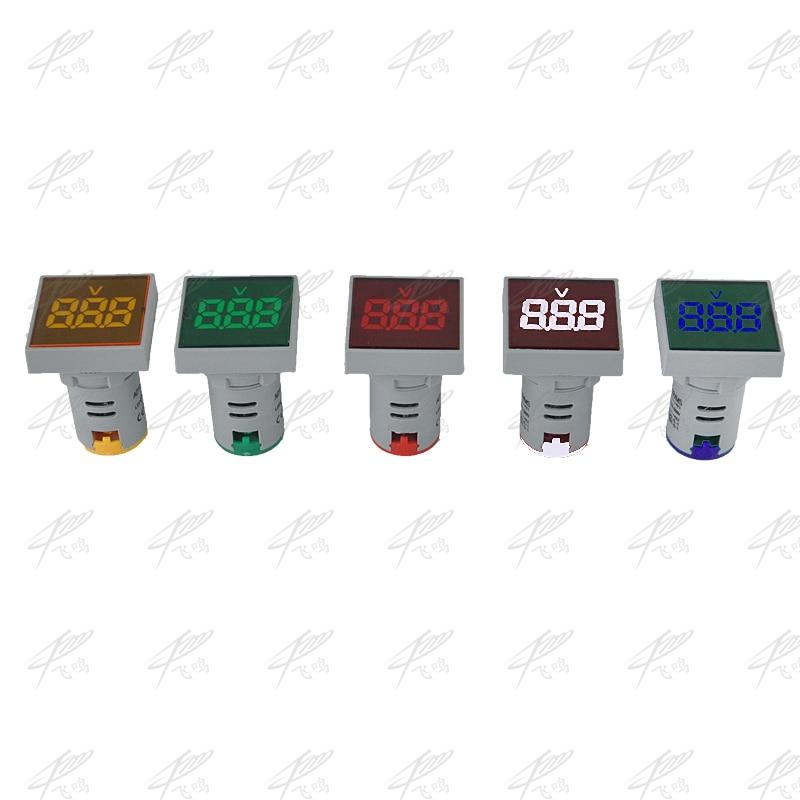 Digital 22MM Measuring Range AC 12-500V Multicolor LED Display Voltmeter Voltage/Current Meter Indicator Pilot Light sj acv056fb 0 56 3 digital led blue light display 2 line ac voltmeter black 12 380v