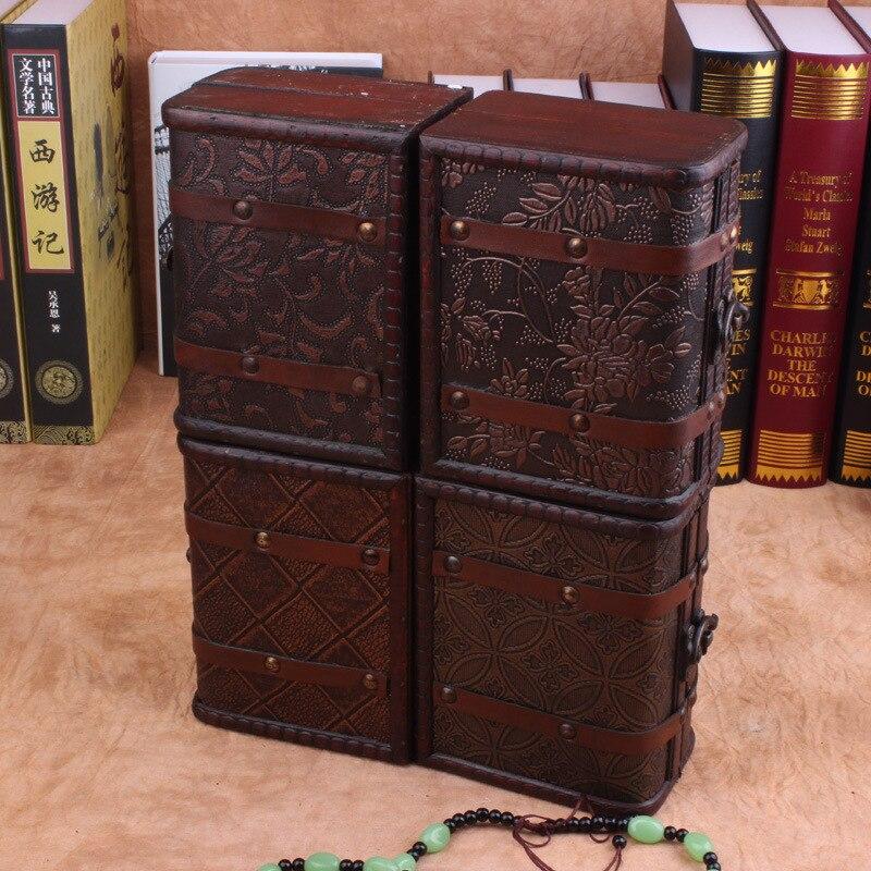 Античная органайзер для косметики украшений деревянная коробка американский стиль коробка для хранения Организатор контейнеров лак прямо...