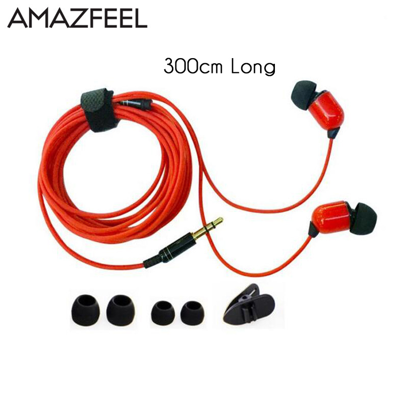 Earphones 3 Meters Long in ear Wired Earphone Monitor Headphone 3.5mm Stereo Headset for xiaomi iphone 5 6 m320 metal bass in ear stereo earphones headphones headset earbuds with microphone for iphone samsung xiaomi huawei htc
