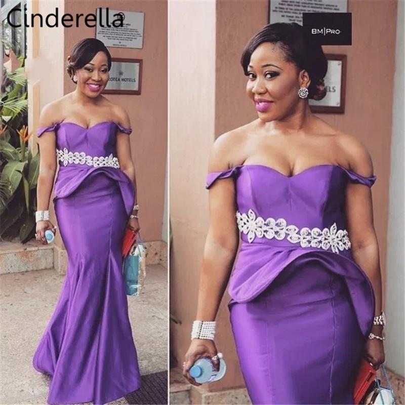 Cinderella African Sweetheart Lace Applique Crystal Beaded Satin Mermaid Bridesmaid Dresses Zipper Back