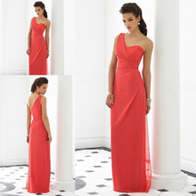 Coral Color Bridesmaid Dress Modest Long One Shoulder Chiffon Cheap Bridesmaid  Dresses Women Gowns Free Shipping 598bb49f04a3