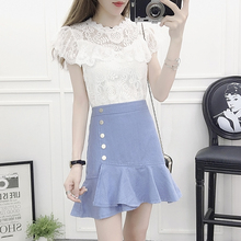цена на girl sleeveless lace blouse top & irregular fishtail single-breasted skirts two-piece outfit women vestidos vogue summer clothes