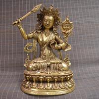 Редкие антикварные Тибета Медная скульптура, 26 см (H), синий Tara buddhu, ручная резьба ремесла, коллекции и украшения, Бесплатная доставка