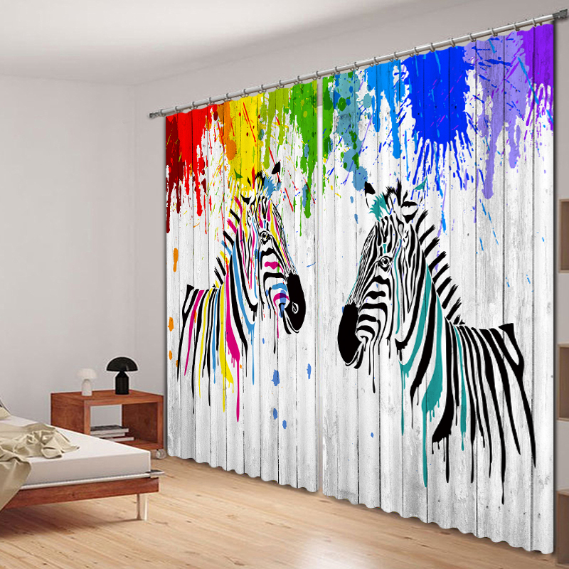 Gorgeous colorful zebra Curtains 3D Photo Printing Blackout For Window Living Room Bedding Room Hote Office Sofa DecorationGorgeous colorful zebra Curtains 3D Photo Printing Blackout For Window Living Room Bedding Room Hote Office Sofa Decoration