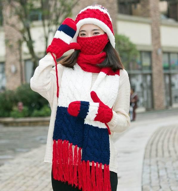 Warm Knitted Hat Scarf Gloves Three Pieces Set