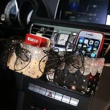 Кружево бантом автомобиль коробка для хранения кристалл автоматический выход вентиляционное отверстие Косметика чехол мобильный телефон сумка автомобиля Интимные аксессуары для Обувь для девочек