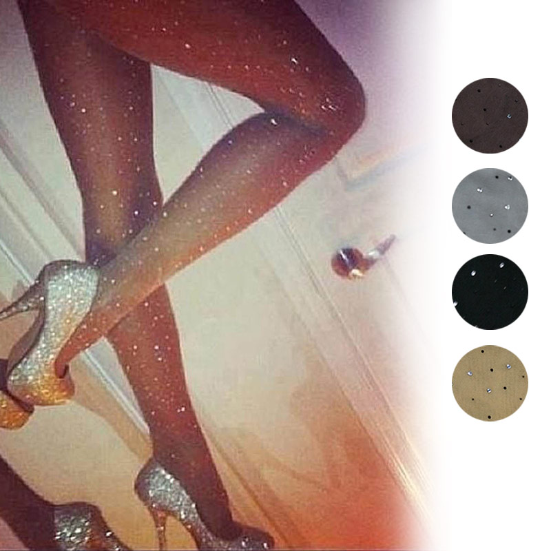 Sexy Women Basic Stretch Ultra Thin Bling Pantyhose Crystal Rhinestone Tights Slim Fit Stockings   XRQ88