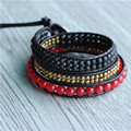 Triple Red Agate ,Antiqued Copper  Black Leather  Strand Bracelet for Women Pulseira Masculina Wholesale Sale