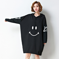 Women Fall Winter Hooded Sweatshirt Smiley face Long Sleeve Mid Long Plus Size Loose Hoodies Casual Fashion Oversize