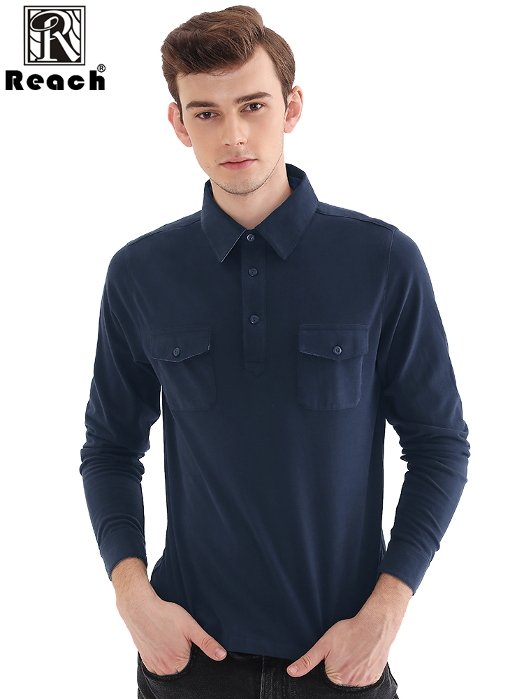 Reach Long Sleeve Polo Shirts Mens Polo Shirt With Pocket Cotton Polo Shirt Homme Para Hombre Casual Autumn Solid Color EU Size