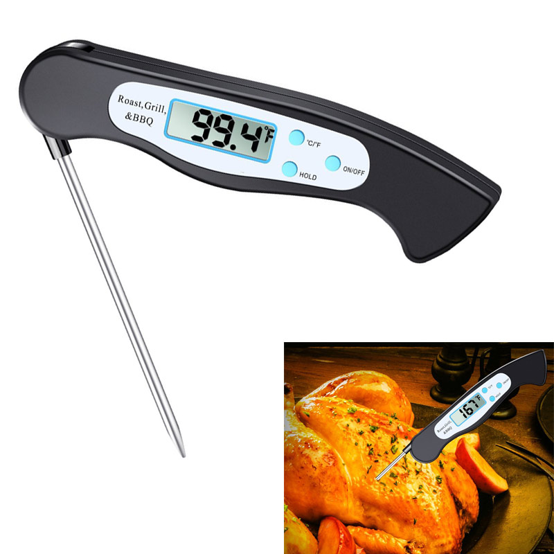 Instant Read Digital Food Thermometer with Magnet Collapsible Probe BBQ Grill Kitchen Tool @LS