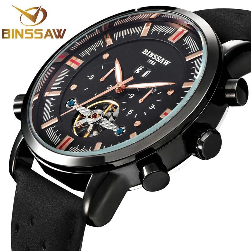 BINSSAW 2018 New Men Tourbillon automatisch mechanisch horloge Grote - Herenhorloges