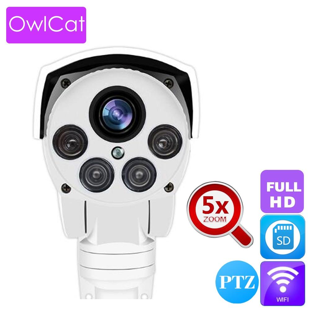 OwlCat Waterproof Outdoor Bullet IP Camera wifi HD 1080P 5x Optical Zoom PTZ Security Network CCTV Camera with Memory Slot Onvif