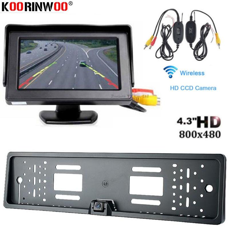 Koorinwoo Wireless Car License Plate Frame Camera Reverse CCD HD IP68 Car Rear View Camera Accessory With Monitor Digital Screen