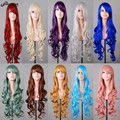 80CM Long Curly Wave Harajuku Cosplay Wig Anime Blonde Purple Pink White Synthetic Hair For Black Women Party Wig Peruca Pelucas