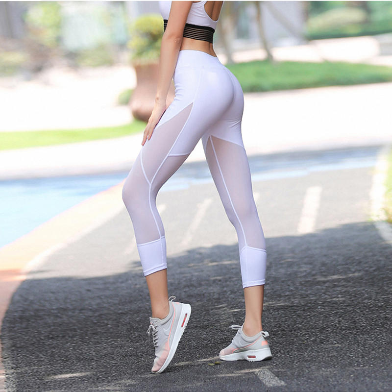 Hot New! Sexy Mesh Patchwork Short Leggings Women Fitness Capri Pants Dry Quick Breathable Sportes Legging Elastic Slim Jeggings