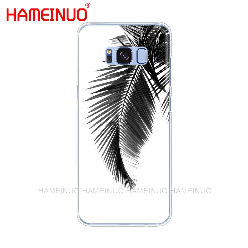 HAMEINUO أسود أبيض سعف النخيل palm trees الخليوي غطاء إطار هاتف محمول لسامسونج غالاكسي S9 S7 حافة زائد S8 S6 S5 S4 S3 مصغرة