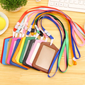 wholesale Bank Credit Card Holders women men PU Leather Neck Strap Card Bus ID holders candy colors Identity badge with lanyard