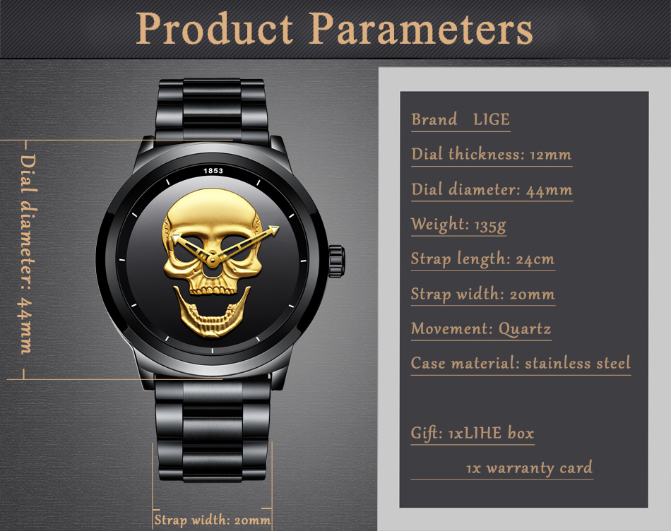 LIGE Skeleto Men Watch Top Brand Casual 3D Skull Full Steel Waterproof Military Sports Male Quartz Wrist Watch Relogio Masculino 11