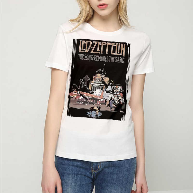 5d495f40321 Women T-shirts Hip Hop Women s Rock T-Shirts Fashion 2017 Led Zeppelin 100