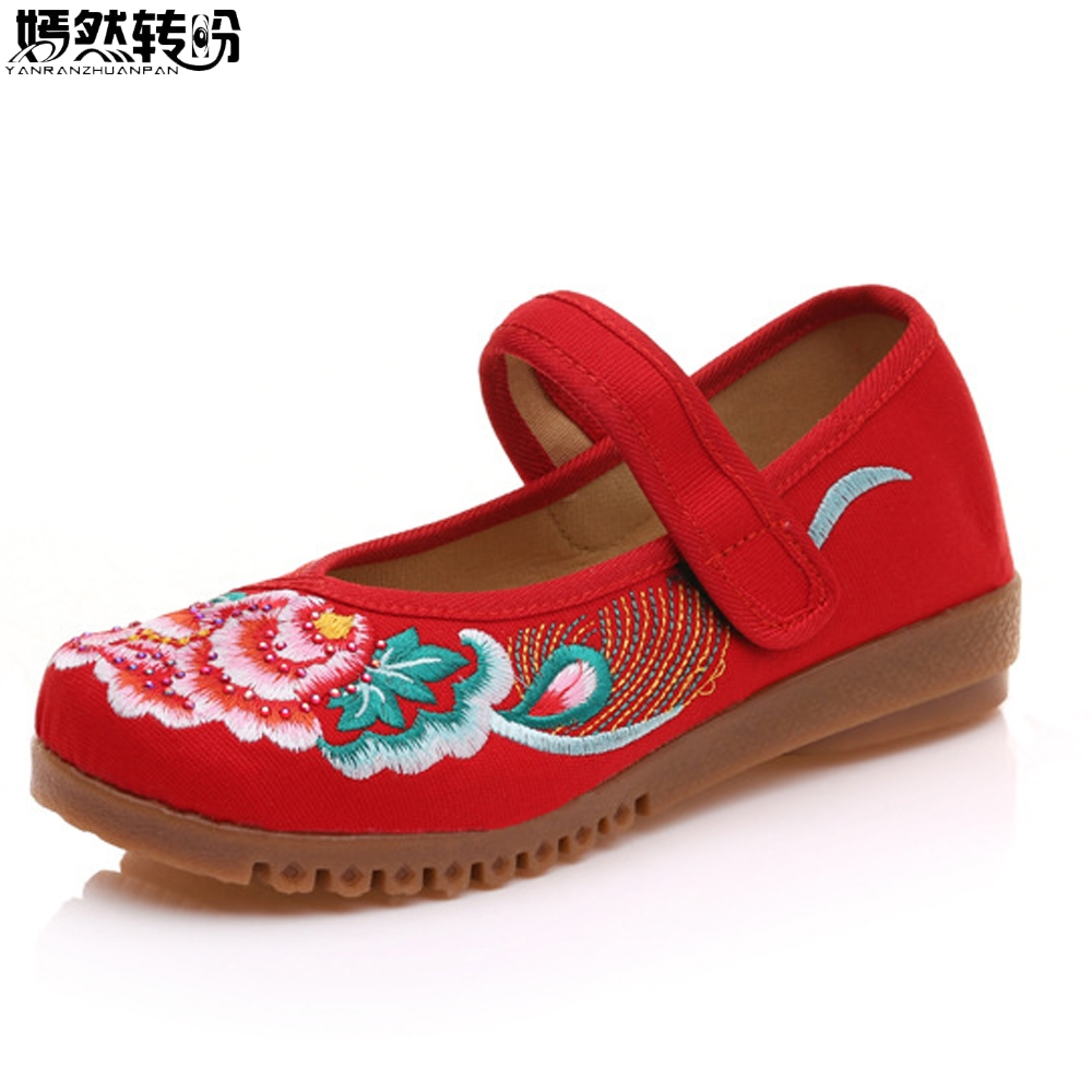 Chinese Women Flats Canvas Shoes Floral Embroidered Ladies Comfortable Cotton Platforms Zapato Mujer Ballet Shoes For Woman vintage flats shoes women casual cotton peacock embroidered cloth flat ankle buckles ladies canvas platforms zapatos mujer