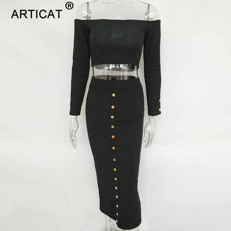 Articat с открытыми плечами с длинным рукавом сексуальное облегающее платье для женщин осень зима из двух частей коктейльное платье без бретелек Повседневное платье-свитер