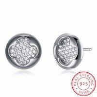 INALIS 925 Sterling Silver Four Leaf Clover Stud Earring For Women Girls Children Girls Kids Fine