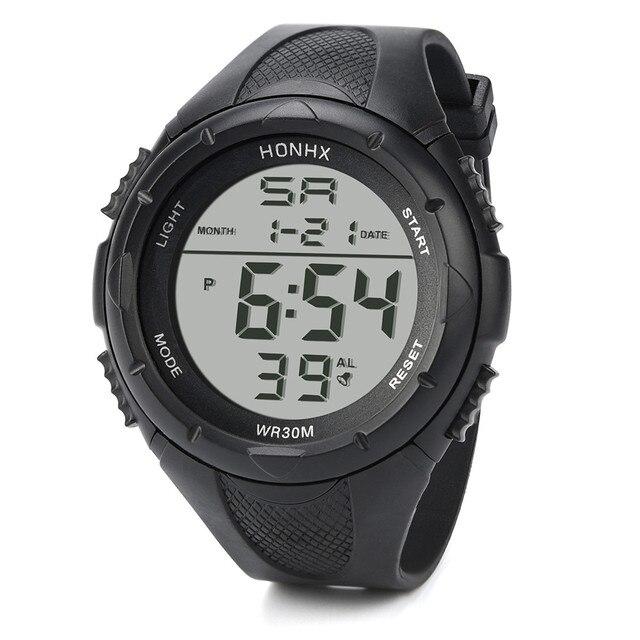 HONHX Men LED Digital Alarm Sport Watch Silicone Military Army Quartz Fashion Wr