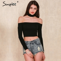 Simplee Apparel European Style Sexy Slash Neck Black T Shirt Women Tops Autumn Long Sleeve Halter