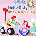 Adorável hello kitty design de alta qualidade do carro rc com música play e iluminação led controle remoto rosa toys para crianças Doraemon