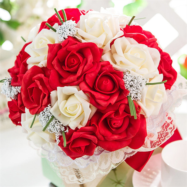2015 Beautiful Purple Wedding Bouquet All Handmade Bridal Flower Wedding Bouquets Artificial Pearls Flower Rose Bouquet