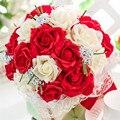 2015 Hermosa Púrpura de La Boda Ramos de Novia Flores de La Boda Ramo Todos Hechos A Mano Perlas Artificiales Flor de Rose Bouquet