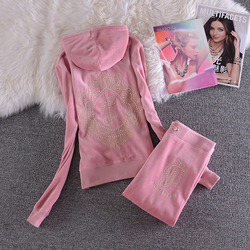 Primavera/otoño 2019 marca mujer terciopelo tela Velor chándal mujeres traje chándal sudaderas y pantalones de tamaño S-XL